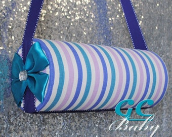 Purple Pink Teal Stripe Fabric Headband & Hair Clip Holder - 3 Styles...Standing, Horizontal Bolsters, Vertical Hanging - Fully Custom
