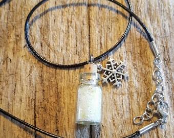 Miniature Glow in the Dark bottle Charm Necklaces, Bottle Charms, Glow in the Dark, Stars, Snow, Winter, Sky