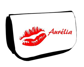 Black Kiss /crayons make-up case personalized with name