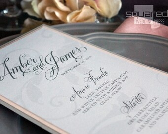 Haute Grey Bespoke Menu Cards - SAMPLE - Silver and Gray Wedding Reception - Reception Menus, Custom Design Wedding Reception Decor Event