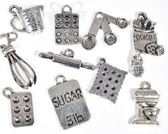Baking Charm Collection - 10 Bakers Charms - Cooking Charms - Food Charm - Cooks Charms - Kitchen Charms - Restaurant Collection - 2P1829