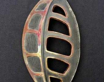 Raku Leaf with cutouts