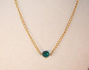 Emerald Swarovski Solitaire Necklace