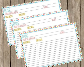 Recipe Cards Printable Instant Download Pink & Blue
