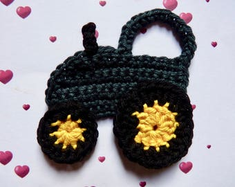Tractor applique green crochet cotton