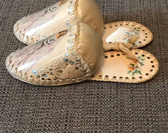 Vintage Wedding Pin Cushions, Made in Greeting Card Box Style, Satin Floral Postcard Slippers