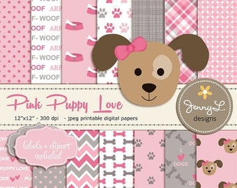 50% OFF Pink and Gray Puppy Dog, Girl Dog Digital papers, Pet Digital Paper, Dog Clipart, Paws Scrapbooking Paper, Animal Digital Paper, Pup