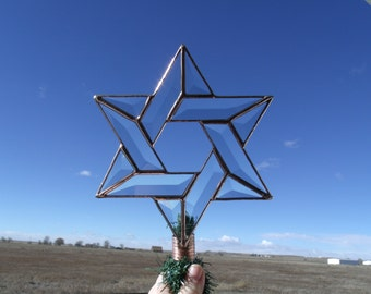 Copper Version Beveled Glass Tree Topper, Rustic Interfaith Star Christmas Decoration