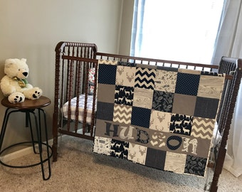Woodland Personalized Baby Quilt, Blanket, Crib Size, Navy Blue, Gray, Rustic, Deer, Antlers, Elk, Feathers, Nursery, Name, Navy Blue, Boy