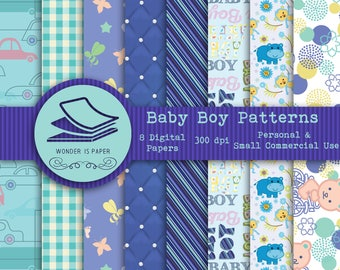Baby Boy Digital Papers - 8 Designs 12x12in, 30x30 cm - Ready to Print - High Quality
