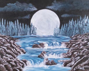 Moonlight Night Stream River landscape