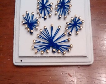 Paw Print String Art - Blue and White