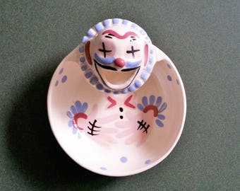 California Cleminsons Pottery - Bowl from Clown Series - Collectible - 1950s - Fanciful and Fun
