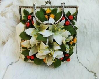 Lilies handbag Wool felted bag White felt bag with designer decor Woman handbag with felted flowers Wool bag for women White wedding bag