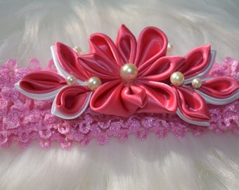 Hot Pink and White Flower Headband for Baby Girls