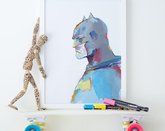 Batman Digital Print, Digital Download, Printable Art, Wall Art, Pop Art, Instant Download, Watercolor, Modern Art, Minimalist