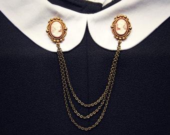 pink cameo collar pins, collar chain, collar brooch, lapel pin, cameo pin, cameo brooch