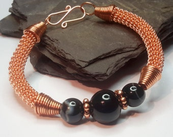Wire wrapped black agate bracelet