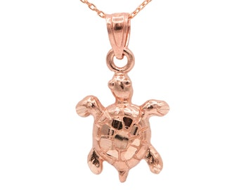 10k Rose Gold Turtle Necklace