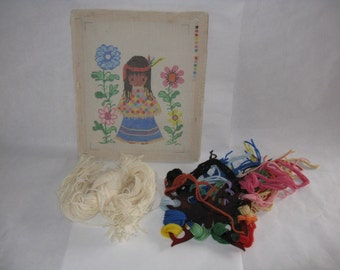 Needlepoint kit young girl flowers complete embroidery