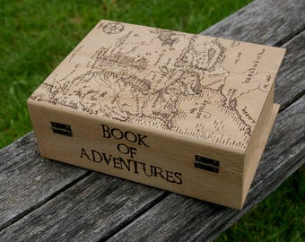 The Lord of the Rings inspired pyrography art box The Book of Adventures Map of Middle Earth