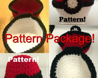 TWO Crochet Patterns for Large and Medium Pokemon-Inspired Hinged Monster Catching Ball - PATTERNS ONLY!