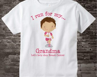 Personalized I Run for my Grandma Children's Tee Shirt or Onesie with Breast Cancer Pink Ribbon 10022014d