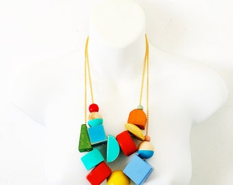 color block necklace | vintage wooden beads