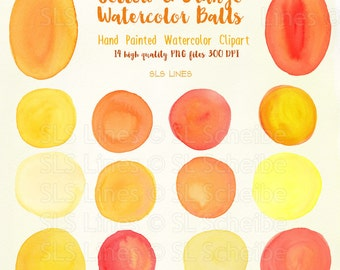 Yellow Orange watercolor balls and ovals, watercolor clipart circles in yellow-orange, graphic PNG files, instant download