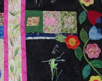 Frogs in My Garden Quilted Wall Hanging - Art Quilt
