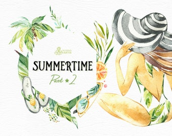 Summertime 2. Wreaths, Frames, Elements. Watercolor holiday clipart, girls, beach, travel, suitcase, floral, tropical leaves, trip, sun, fun