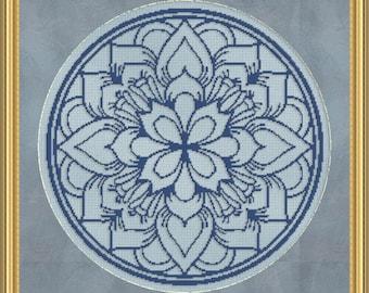 Cross Stitch Pattern Floral Medallion Monochrome 5 Instant Download PdF