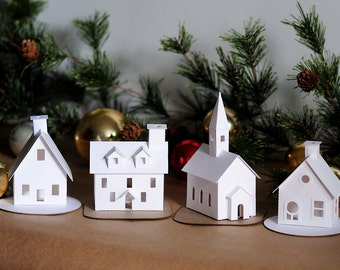 DIY Putz Village Ornament Kit Of 4 Christmas Glitter House Decorations  Winter Mantle Decor