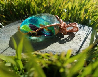 Large Glass Copper Wire Wrapped Pendant