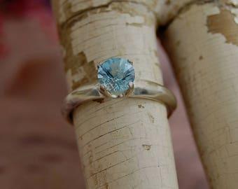 Maura - Aquamarine solitaire ring, blue aquamarine gemstone ring, aquamarine engagement ring, March birthstone ring, sterling silver ring