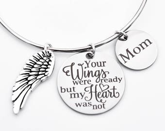 Memorial adjustable bangle, your wings were ready but my heart was not, Mom Dad memorial bracelet, in memory of