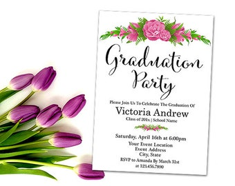 Floral Graduation Invitation - Printable Boho Graduation Invite, Class of 2018, High School or College Graduation Invitation, Your Words