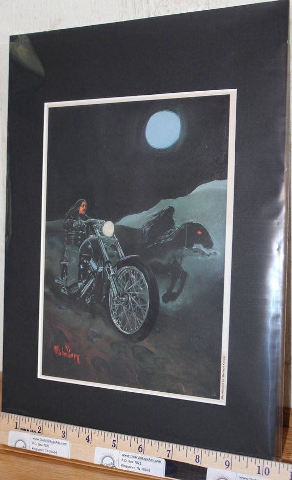 Easyriders ''Thunder Bear'' Michael Knepp Matted Biker Motorcycle Art #9402ezrmkm