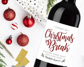 Teacher Christmas Gift, Teacher Christmas Wine Label, Teacher Wine Label, Christmas Gift for Teacher, Personalized Teacher Gift, Male Gift