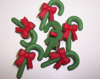 6 Red and Green Candy Cane Shank Buttons Size 5/8""