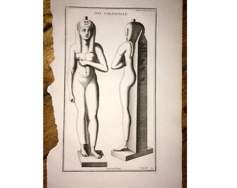 1722 ISIS COLOSSAL STATUE original antique egyptian architecture detail engraving - goddess of fertility health marriage and love