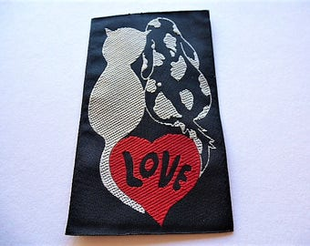 applique cat and dog Love patch badge white on black background for creative sewing pattern