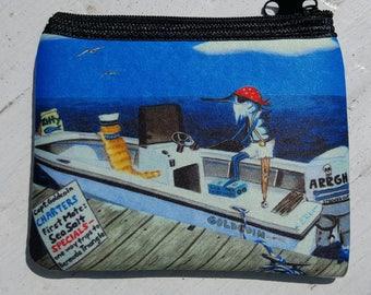 Captain Goldcoin Bermuda Trips art Coin Purse zippered pouch neoprene