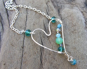 Green and Blue Beaded Hand Formed Heart Necklace, Silver Hammered Heart, Rustic Colored Heart, Heart Choker