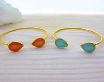 Turquoise Bracelet, Inspirational Womens Gift, Double Teardrop Bracelet, Gold Bracelet, Open Cuff Bracelet, Turquoise Jewelry, Birthday Gift