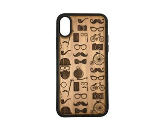 Hipster Icons iPhone X Case Cover by iMakeTheCase Bamboo Cover+TPU Wrapped Edges Mustache Beard Glasses Bowtie Tophat Camera Bicycle Monocle