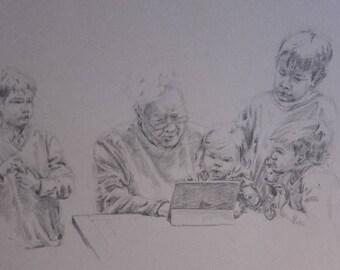 Portrait original Grandpa and children - send me a message for a custom-made portrait/drawing