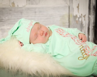 Personalized, Embroidered Newborn Gown and Knot Hat