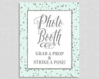 Photo Booth Sign, Mint & Silver Glitter Confetti Shower Sign, Wedding, Baby Shower Sign,  INSTANT PRINTABLE