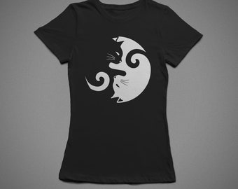 Cats yin yang, T-shirt, 100% cotton, for woman style, unisex style